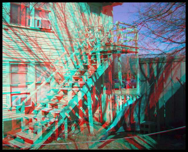 LEE HARVEY OSWALD NEELY STREET DALLAS HOME FAMOUS STAIRCASE 3D RED CYAN ANAGLYPH