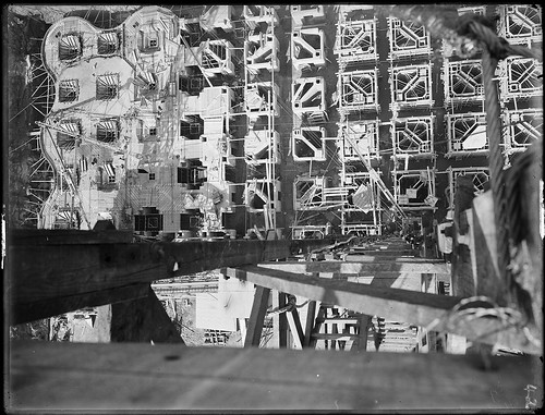 Wheat silos under construction, Glebe Island, Sydney, c. 1921, by Arthur Ernest Foster | by State Library of New South Wales collection