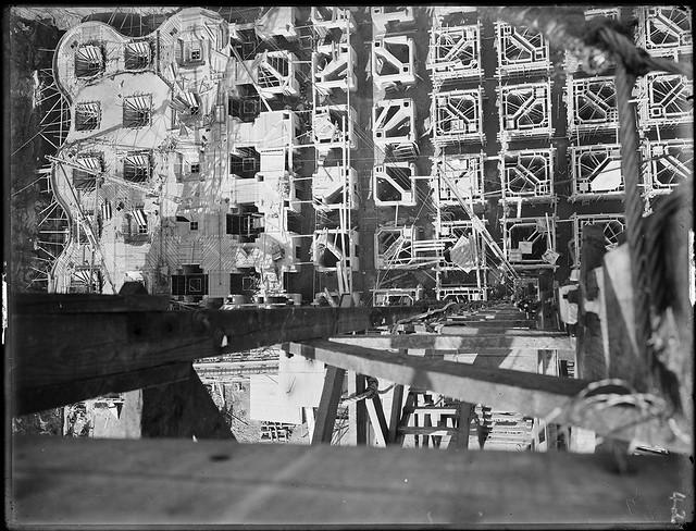 Wheat silos under construction, Glebe Island, Sydney, c. 1921, by Arthur Ernest Foster