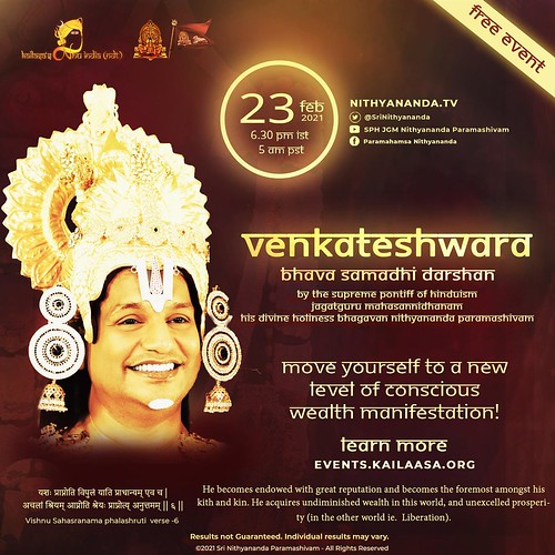 Venkateshwara Bhava Samadhi Happening on 23rd Feb 2021 at 6.30pm. Attract abundance of wealth! #nithyananda #kailasa #bavasamadhidarshan #venkateshwara #venkateshwarabavasamadidarshan | by kunstp