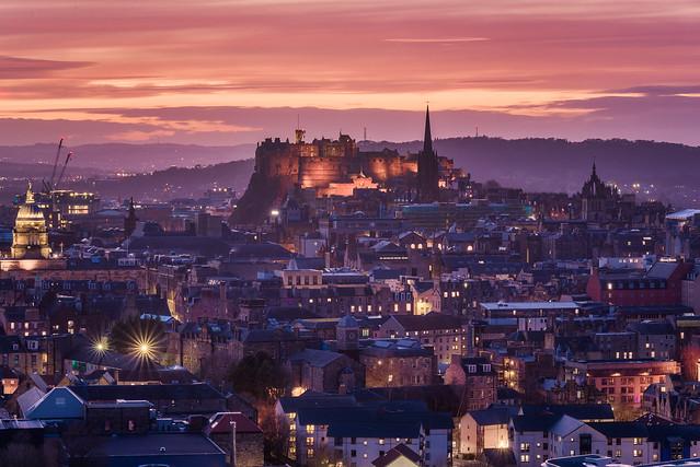 Edinburgh Castle & the Rooftops (Post-Sunset Radiance)