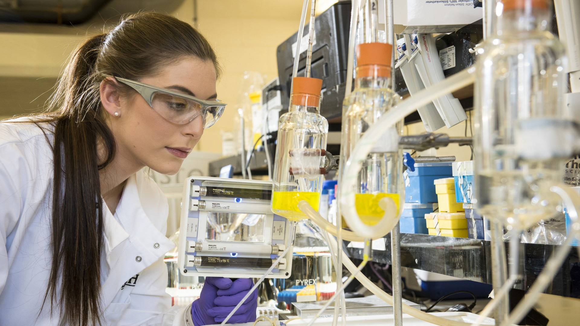A PhD scholar in the lab
