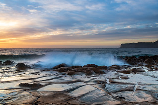 High Cloud Sunrise Seascape from Rock Platform | by Merrillie