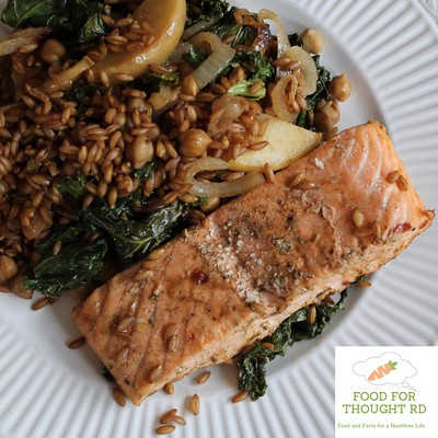 Salmon and Farro Sheet Pan Dinner