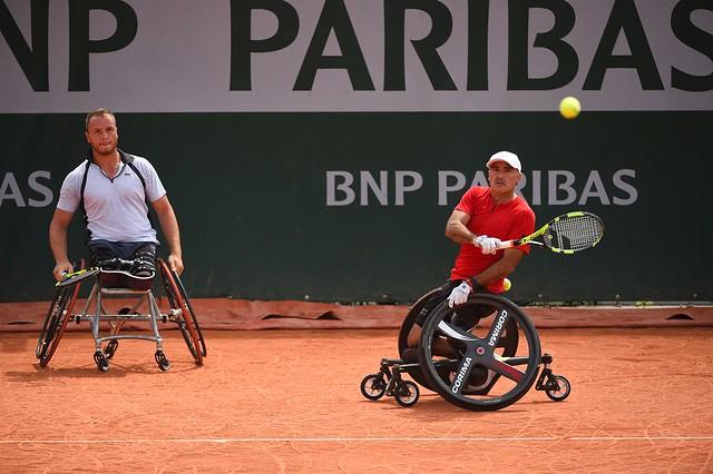 Stephane Houdet, Nicolas Peifer, Roland Garros 2018, Double Messieurs Tennis Fauteuil, Premier Tour, Photo : Corinne Dubreuil / FFT