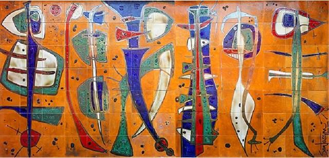 Mural Versos libres (2014) losas de cerámicas, obra de Beatríz Sala Santacana, en su estudio del Reparto Flores de La Habana.