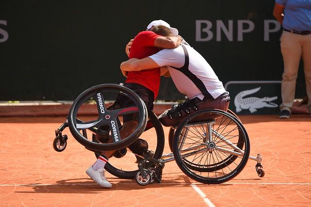 Nicolas Peifer, Stephane Houdet, Roland Garros 2018, Double Messieurs Tennis Fauteuil, Premier Tour, Photo : Corinne Dubreuil / FFT