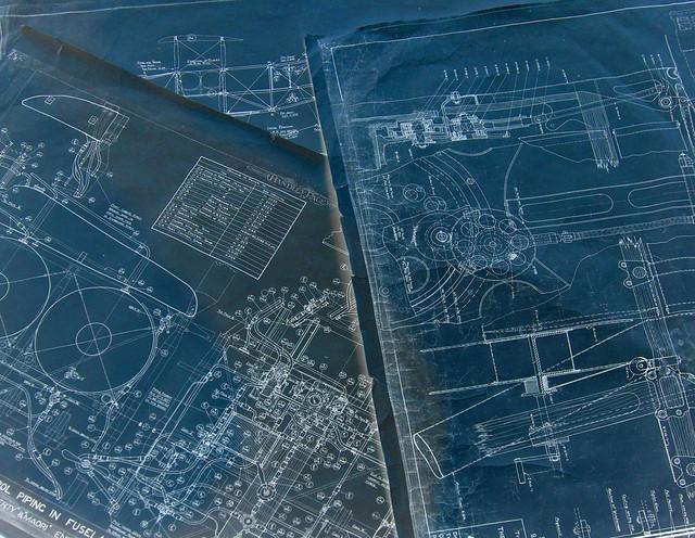 Handley-Page blueprints, late-WWI-era - RAF Museum, Hendon Aerodrome, London NW9