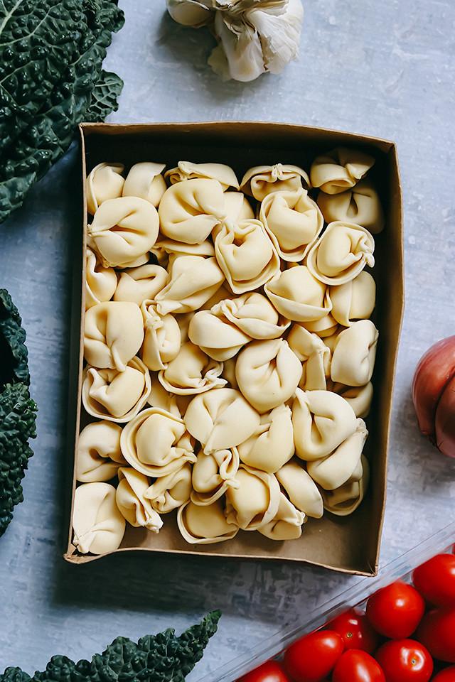 Creamy Mascarpone Tortellini with Roasted Tomatoes and Kale