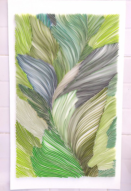Quilled Leafy Green Abstract Wall Art