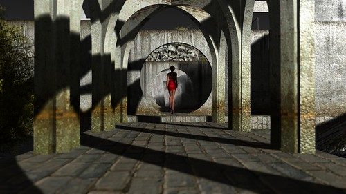 Stone arches and silky, red dress