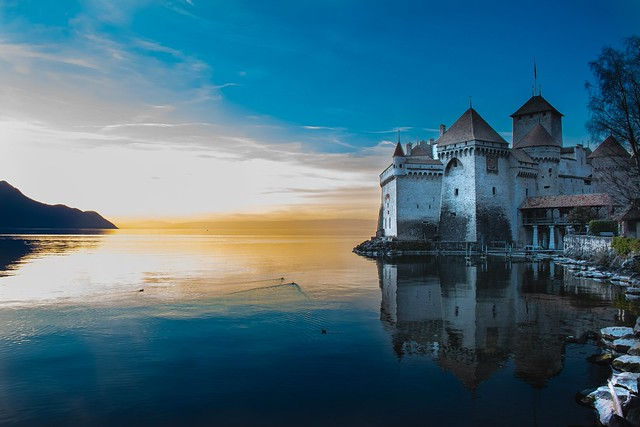 Chillon Castle (Château de Chillon) at sunset