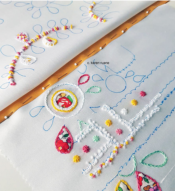 sampling embroidery stitches