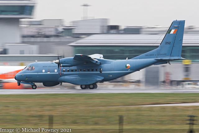 252 - 1994 build CASA CN235-100MPA Persuader, arriving on Runway 23R at Mancherster