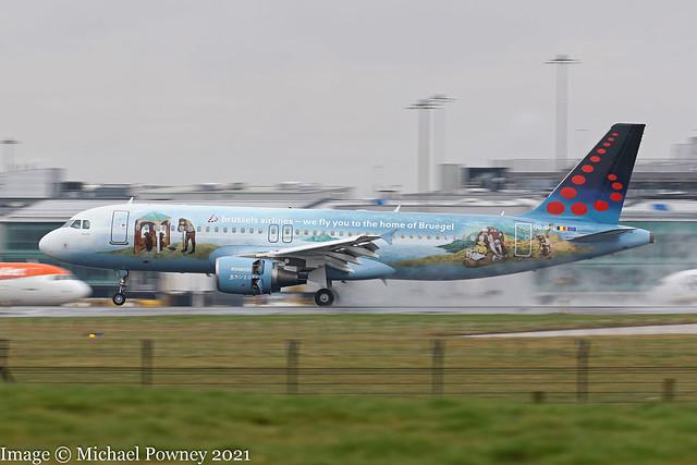 OO-SNE - 2010 build Airbus A320-214, Pieter Bruegel the Elder logojet arriving at Manchester