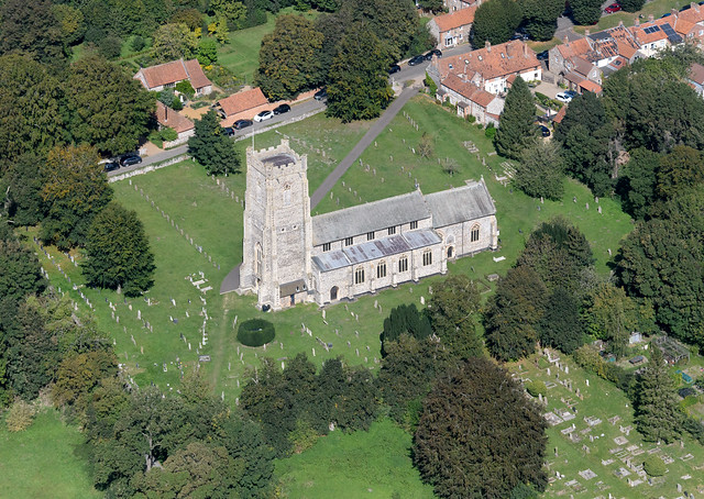 Castle Acre aerial image - St James the Great Church - Norfolk UK