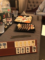 Lunch with sushi and playing Rummy 55/365