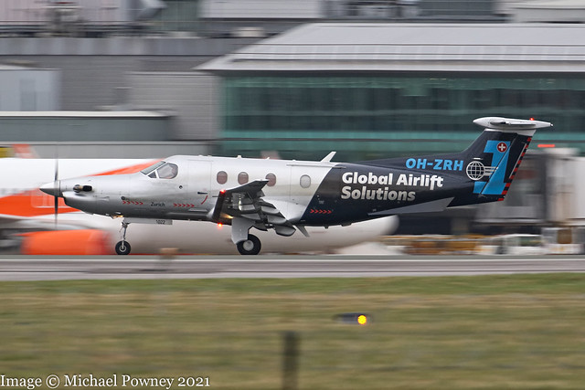 OH-ZRH - 2008 build Pilatus PC-XII-47E, arriving on Runway 23R at Manchester