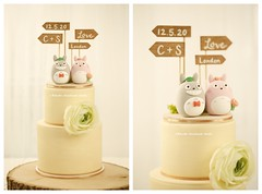 Handmade TOTORO bride and groom with wooden sign MochiEgg wedding cake topper, custom-made cartoons wedding cake decoration