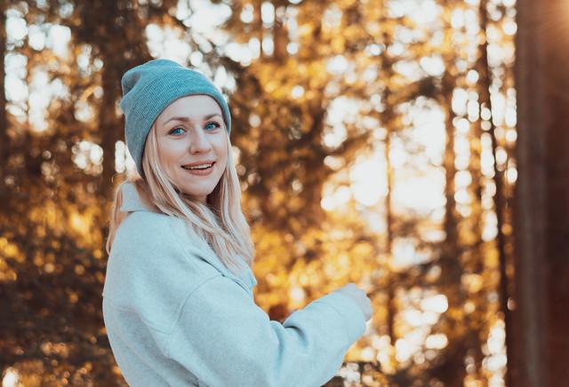 Norwegian girl in the woods