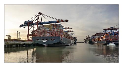 containership containerschiff terminal eurogate burchardkai hafen port harbor hamburg sunset körnchen59 elke körner sony 6000 flickr