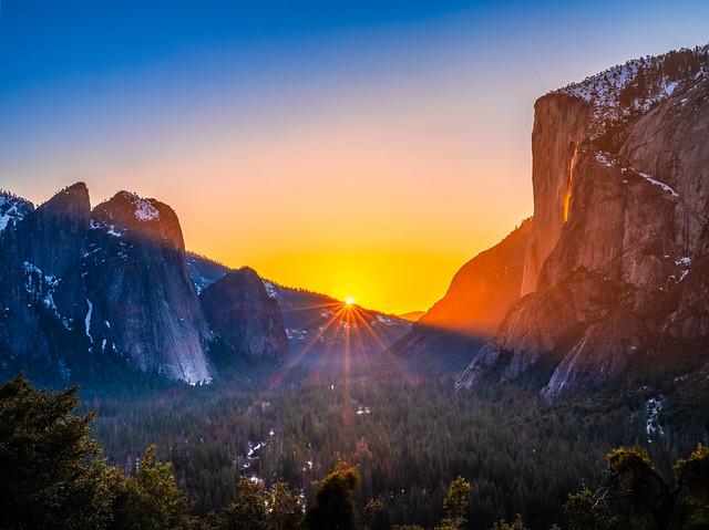 Four Mile Trail View Firefalls! Yosemite Firefall Yosemite National Park Horsetail Falls Yosemite Valley Fire Falls Sunset! Elliot McGucken Fuji GFX100 California Fine Art Landscape Photography!  FUJIFILM GF 45-100mm f/4 R LM OIS WR Lens Four Mile Hike