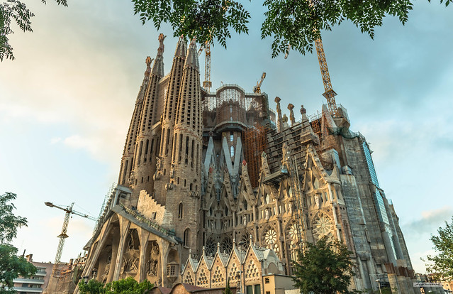Over 150 years in the making. Antoni Gaudi's incredible masterpiece, the Sagrada Familia Cathedral in Barcelona, Catalonia, Spain.