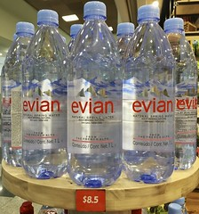 A bottle of Evian for $8.50 US - Priced for American tourists