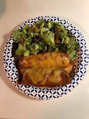 Ground beef & veggie stuffed crepes and salad.