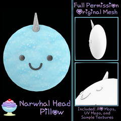 [Sherbert] Narwhal Head Pillow Ad