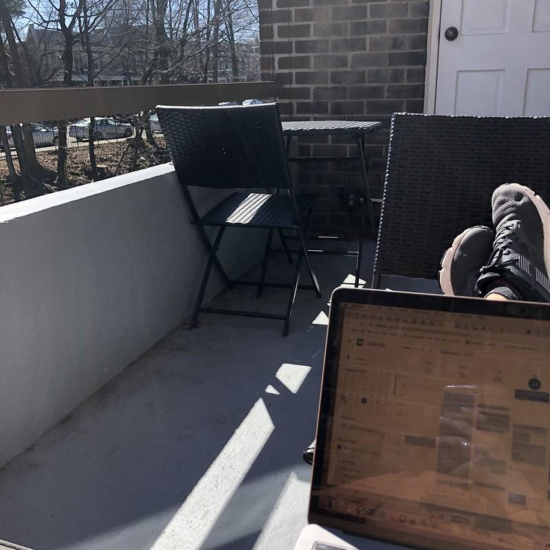 Working on balcony