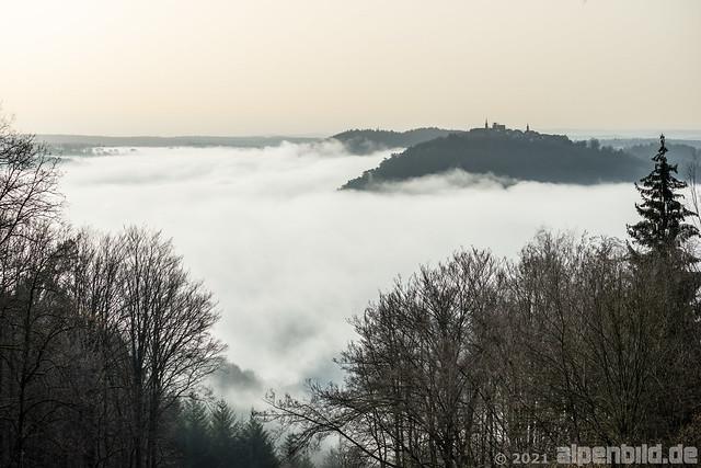Goetheblick, Neckarsteinach: Nebelmeer + Saharastaub