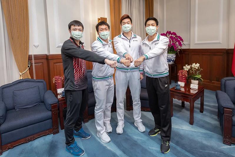 台灣羽球選手於總統府晉見總統。(圖/主辦單位提供)
