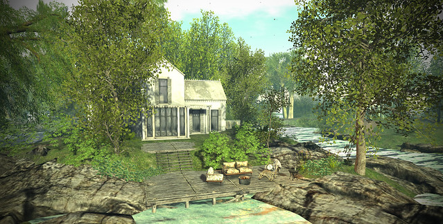 Lake cottage for rent, 700 prims ( with the house and custom decor).