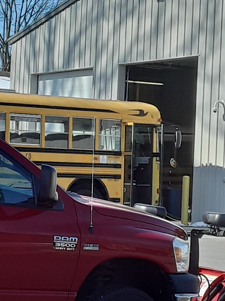 Liberty center local schools bus 6 getting it's new inspection sticker.