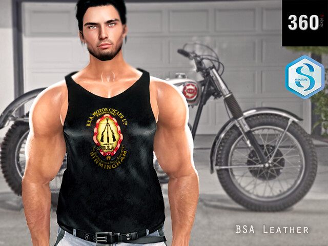 3.Sixty Black BSA leather tank top