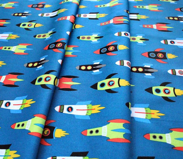 Robert Kaufman Fabrics Dino-Soar AHE-19732-394 Spaceships Blue Yonder