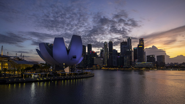 ArtScience Museum in Marina Bay at Dusk