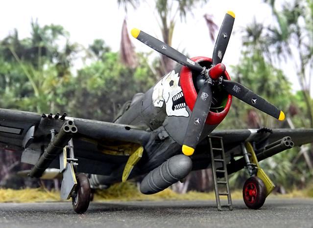 "1:72 Republic P-47-D23 ""Thunderbolt"", aircraft ""46 (s/n 44-32551)"" a.k.a. ""The Big Fella"", mount of Lt. Col. Richard Caldwell; USAAF 89th FS, 80th FG (""Burma Banshees""), 9th AF; Nagahuli airfield (Assam, India), summer 1944 (What-if/Academy kit)"