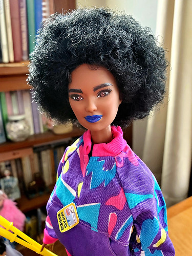 Miss Blue Lips Fashionista 156, redressed in vintage barbie ski togs.