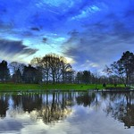 Sunset reflections at Haslam Park, Preston