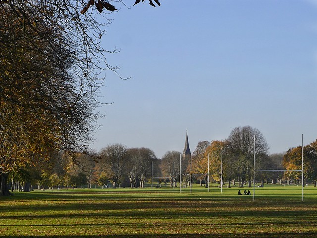 Llandaff Fields, with Llandaff Cathedral in the distance, Cardiff.