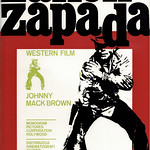Thu, 2021-02-25 16:42 - From a Penrose article on Design in Yugoslavia in 1967 a film poster by Mihajlo Arsovski for a 'Western' starring Johnny Mack Brown. In his day, Brown was a well known college footballer who went on to a Hollywood career starring in many films - mostly as a B-movie actor in Westerns such as this movie after an ealrier promising start in 1927 appears to have fizzled out. In all his career spanned 40 years and he appeared in over 150 movies.   Although the poster dates from the 1960s the film dates from the 1940s, indeed 'Monogram' being a production name dropped after 1952. The title 'Zakon Zapada' is that of his 1949 movie 'Law of the West'.
