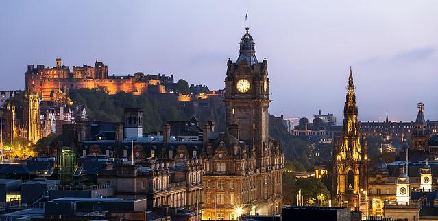Edinburgh Castle, Balmoral Hotel Clocktower, Sunset, Edinburgh, Scotland