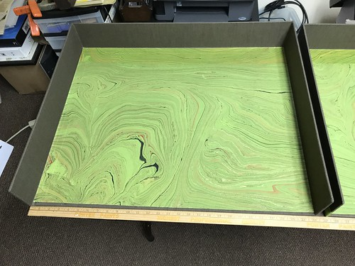 Large clamshell box-covered and lined trays