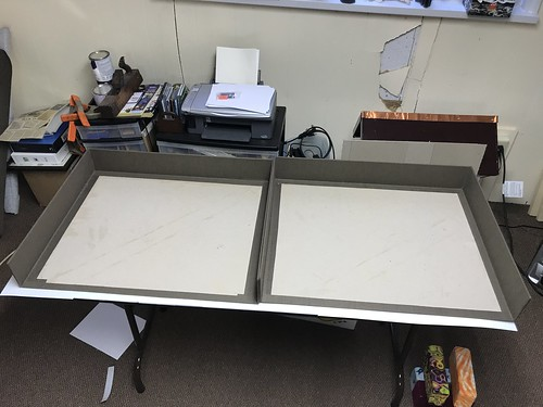 Large clamshell box-trays covered in book cloth