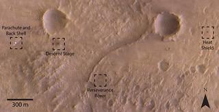 ExoMars orbiter images Perseverance landing site (labelled)