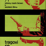 Thu, 2021-02-25 16:41 - From a Penrose article on Design in Yugoslavia in 1967 a film poster by Mihajlo Arsovski for a 'Western' starring Johnny Mack Brown. In his day, Brown was a well known college footballer who went on to a Hollywood career starring in many films - mostly as a B-movie actor in Westerns such as this movie after an ealrier promising start in 1927 appears to have fizzled out. In all his career spanned 40 years and he appeared in over 150 movies.   Although the poster dates from the 1960s the film I think dates from the 1940s, indeed 'Monogram' being a production name dropped after 1952. The title 'tragovi se ukrštavaju' translates as 'The tracks intersect' but as no film of this title exists I think it simply shows Google Translate's limitations!