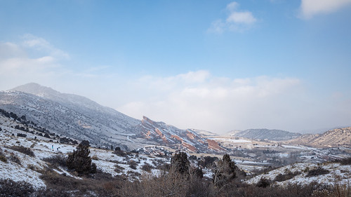 hike mountains snow cold colorado red rocks landscape winter afternoon foothills nature light