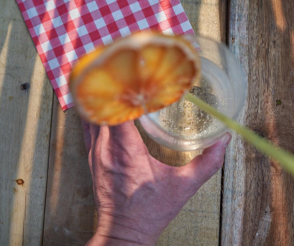Gin tonic and orange wheel